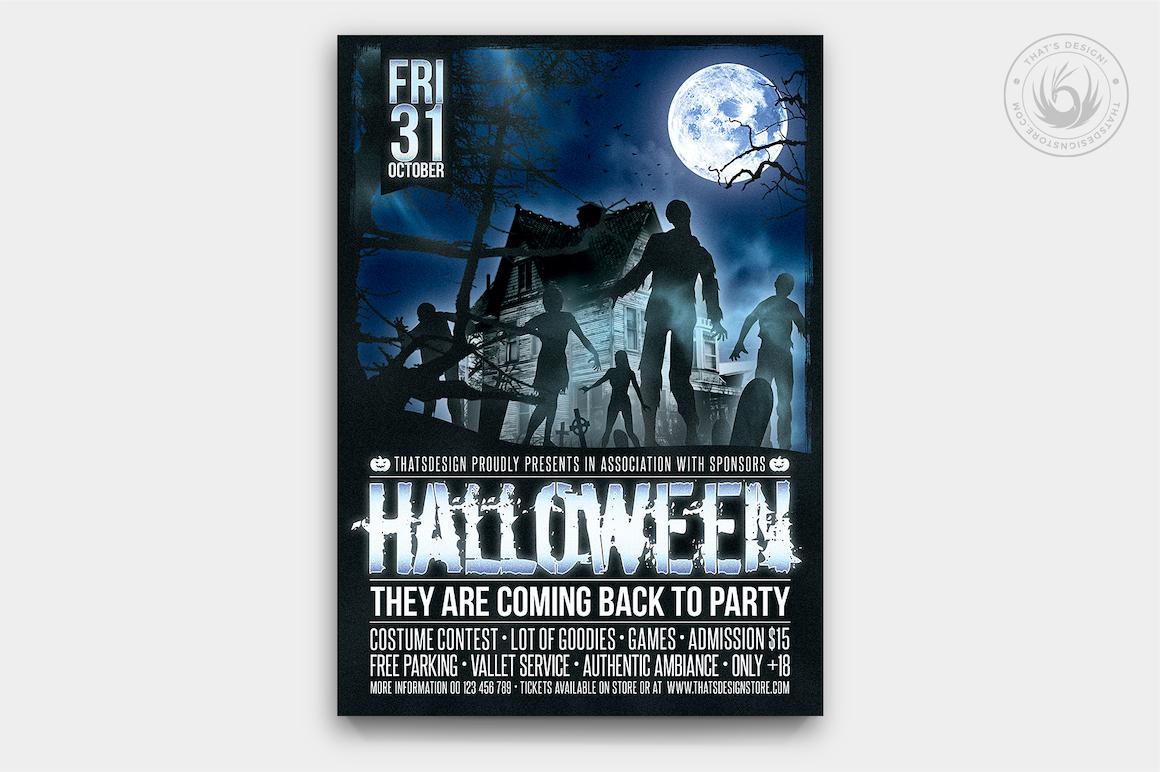 Halloween Flyer Template psd download design V16