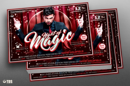 Magic Performer Flyer Template psd design for photoshop