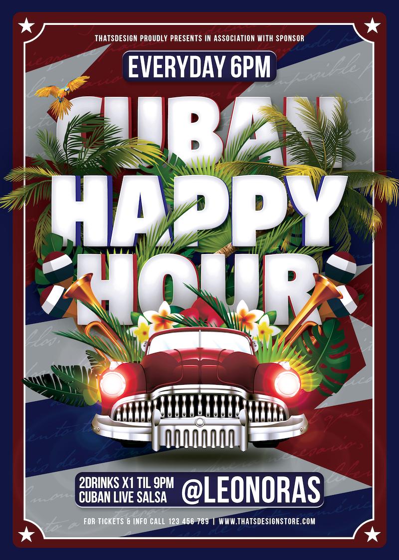 Salsa Tropical Cuban Flyer template Psd Design for Photoshop