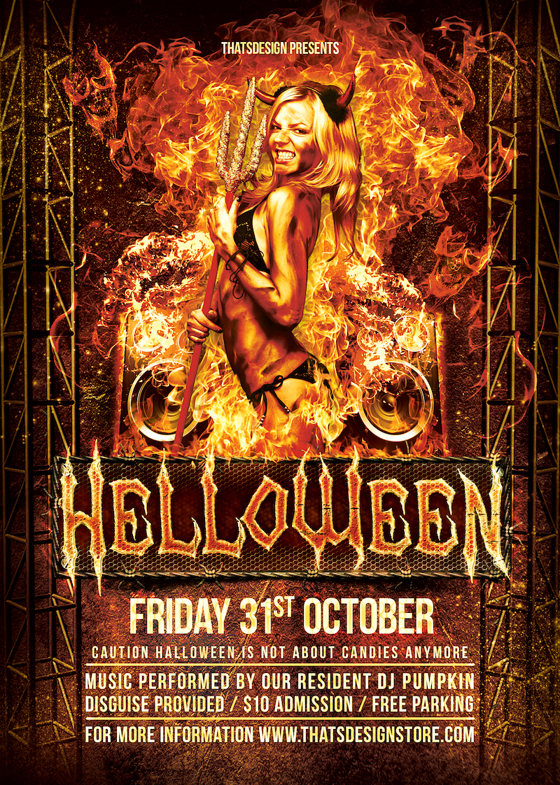 Halloween Flyer Template psd design download
