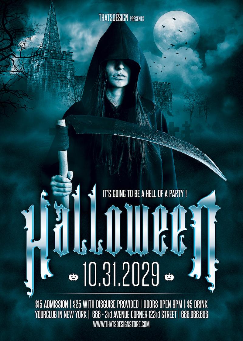 Halloween Flyer Template PSD download design V8