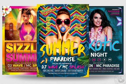 Beach Party Flyers Psd Bundle V3 for any beach party,festival, club or cocktails bar event. Pool or garden party with Dj set mixing chillout, lounge music for a tropical sunset, summer camp holidays