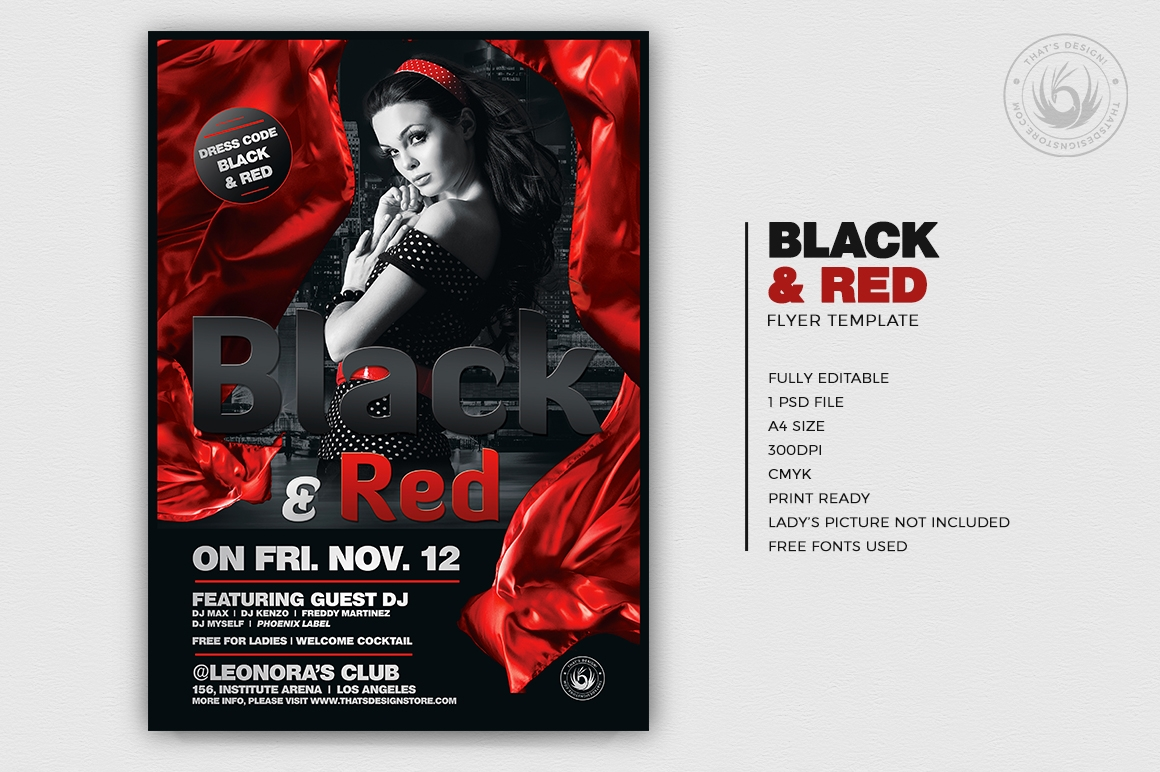 Black & Red Flyer Template V2, club party flyers psd
