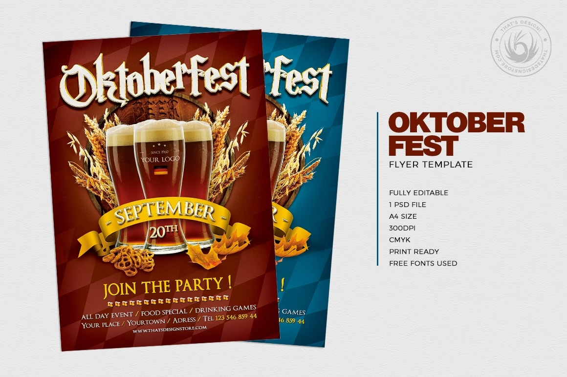 Beer Party Oktoberfest Flyer PSD Template design