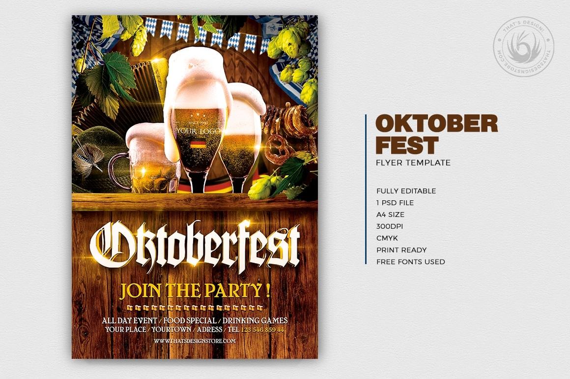 Beer Party Oktoberfest Flyer Template psd design download V.4