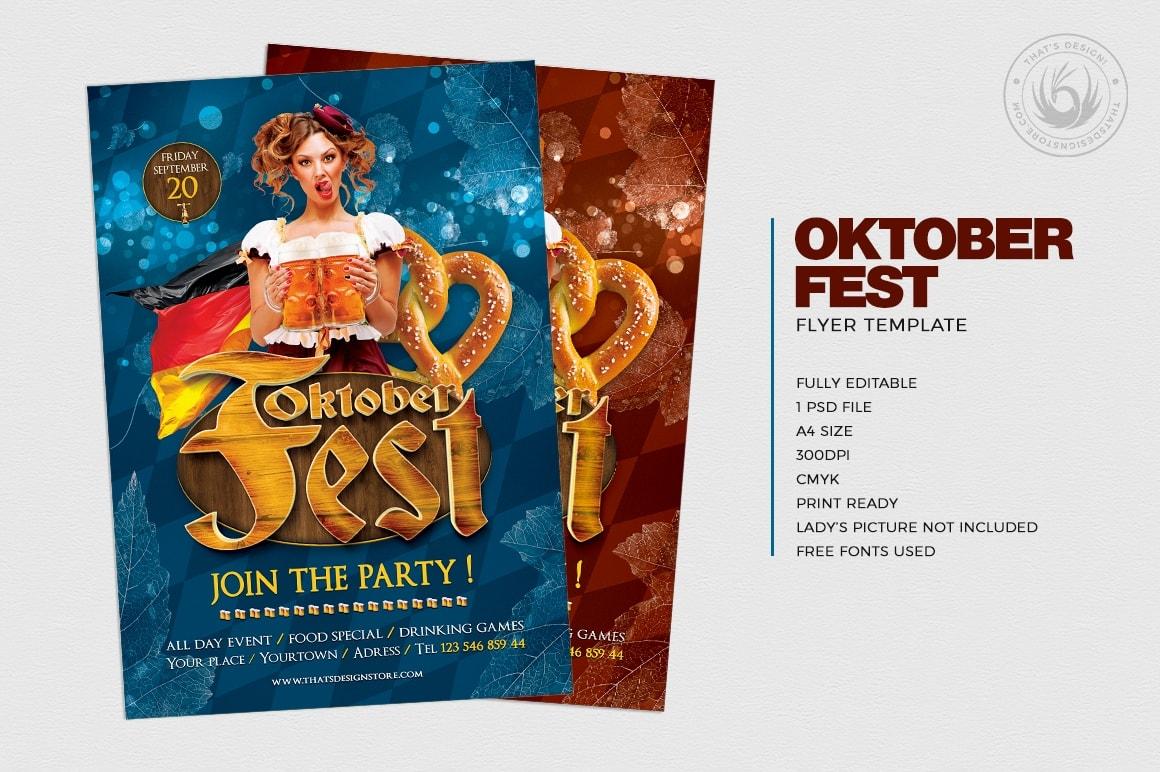 Beer Party Oktoberfest PSD Flyer Template V.5