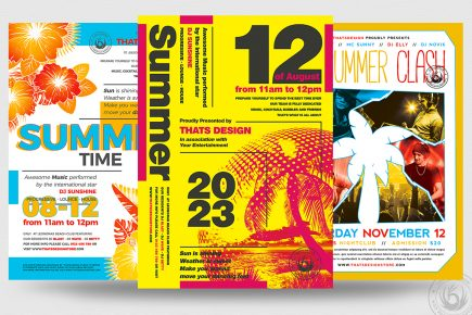 Summer Dj Sessions Flyers psd for any beach party, club or bar event. Pool or garden party with Dj set mixing chillout, lounge music for sunset
