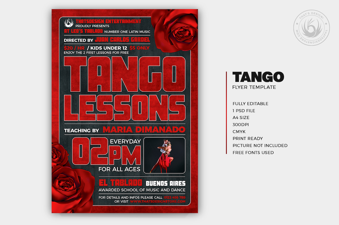 Tango Flyer Template PSD download editable in photoshop