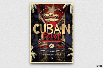 Cuban Fever Flyer Template Psd, salsa, havana club posters, cigar lounge