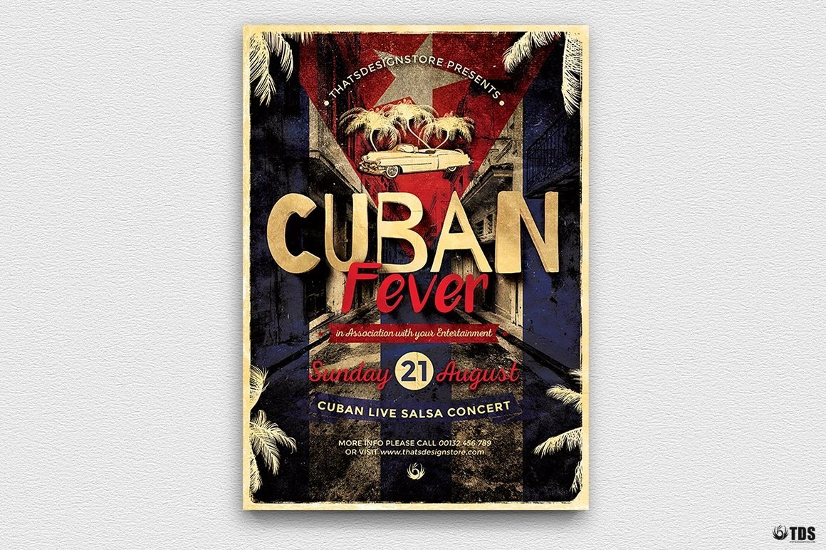 Cuban Fever Flyer Template Psd, salsa, havana club posters, cigar lounge