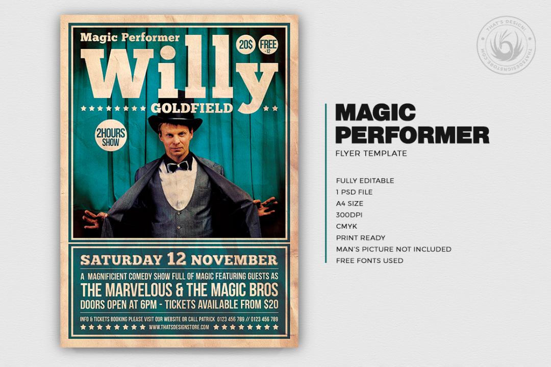 Magician flyers, Magic Performer Flyer Template