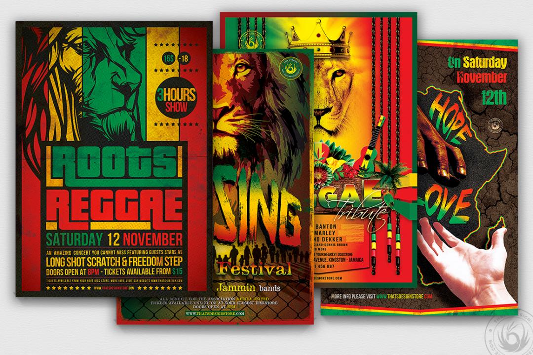 Reggae Flyer Psd Bundle, Rasta Psd Flyers design