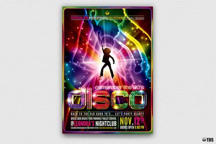 Remember Disco Flyer Template Psd download is Perfect for any Saturday night fever, flower power, 70's, 80's, 90's, Neon and Revival Special Afro party