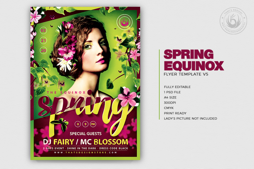 Spring Equinox Flyer Template Psd download V5, earth day flyers, ecological, green