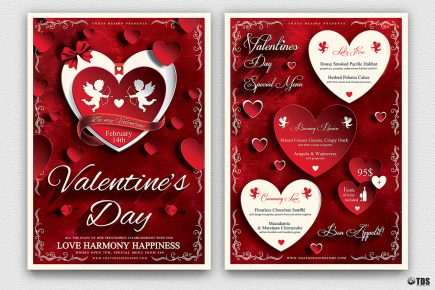 Valentines Day Flyer+Menu Bundle V1 Psd download to customize with photoshop