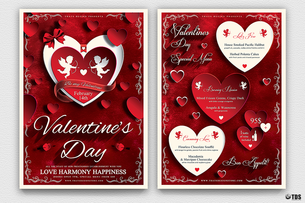 valentines day flyer and menu template psd design