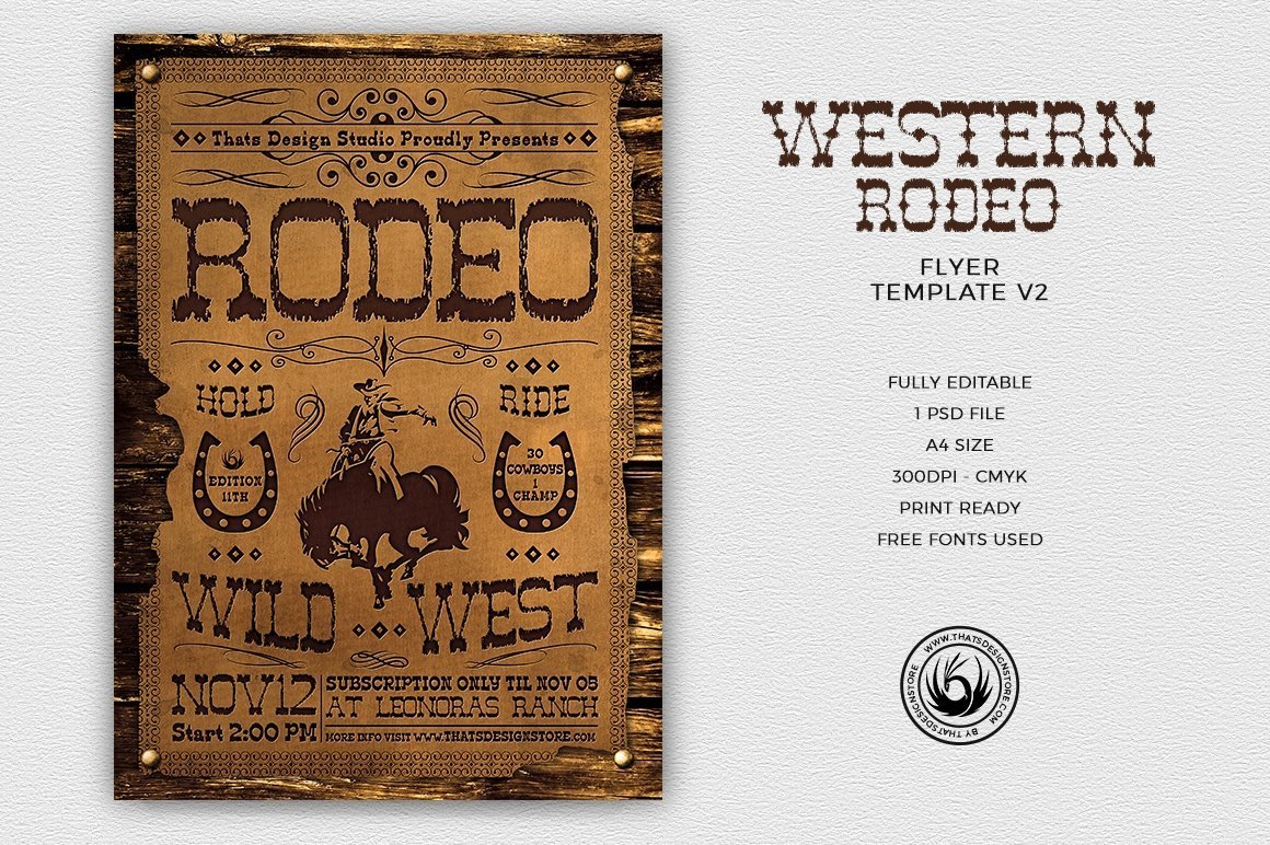 Western Rodeo Flyer Template V2, Wanted flyers farwest Western music template, rodeo bike cowboy in a coyote bar
