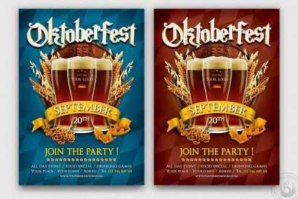 Beer Party Oktoberfest Flyer Template psd design download
