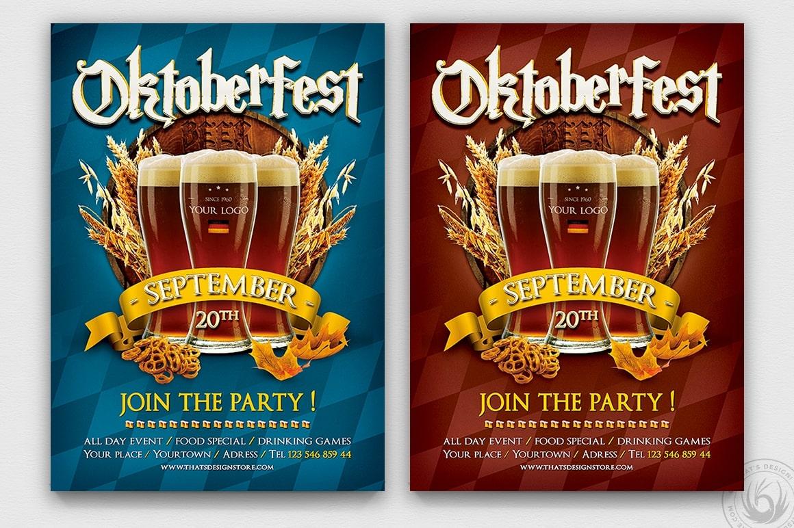 Beer Party Oktoberfest Flyer Template psd design download