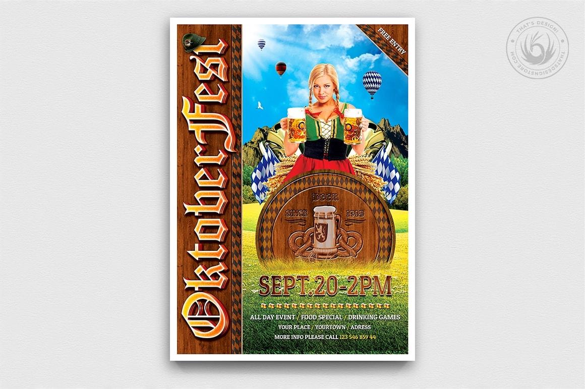 Beer Party Oktoberfest Flyer Template psd design download V.3