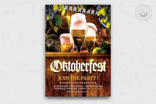 Beer Party Oktoberfest Flyer Template psd design download V4