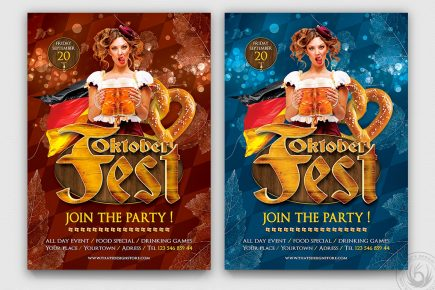 Beer Party Oktoberfest Flyer Template PSD download V.5