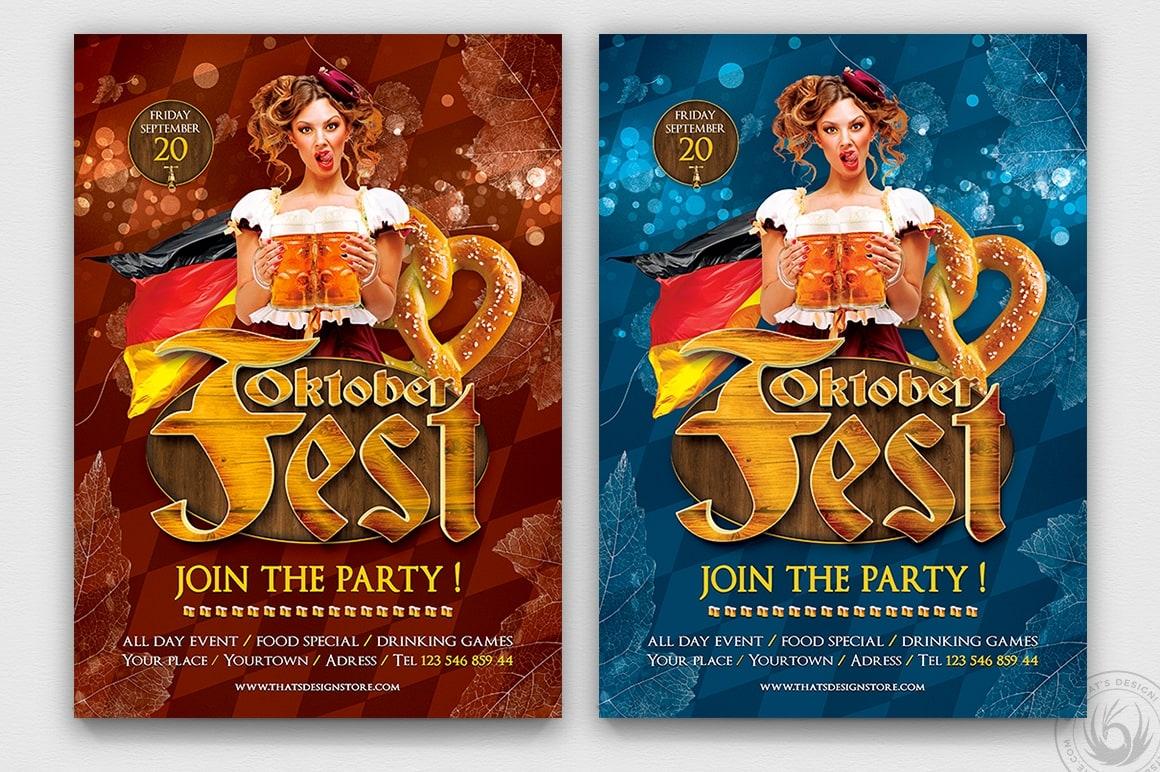 Beer Party Oktoberfest Flyer Template PSD download V.5