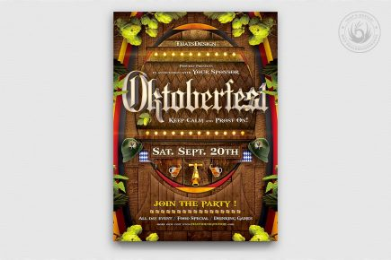 Beer Party Oktoberfest Flyer Template psd download design V.6