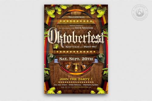 Beer Party Oktoberfest Flyer Template psd download design V.6