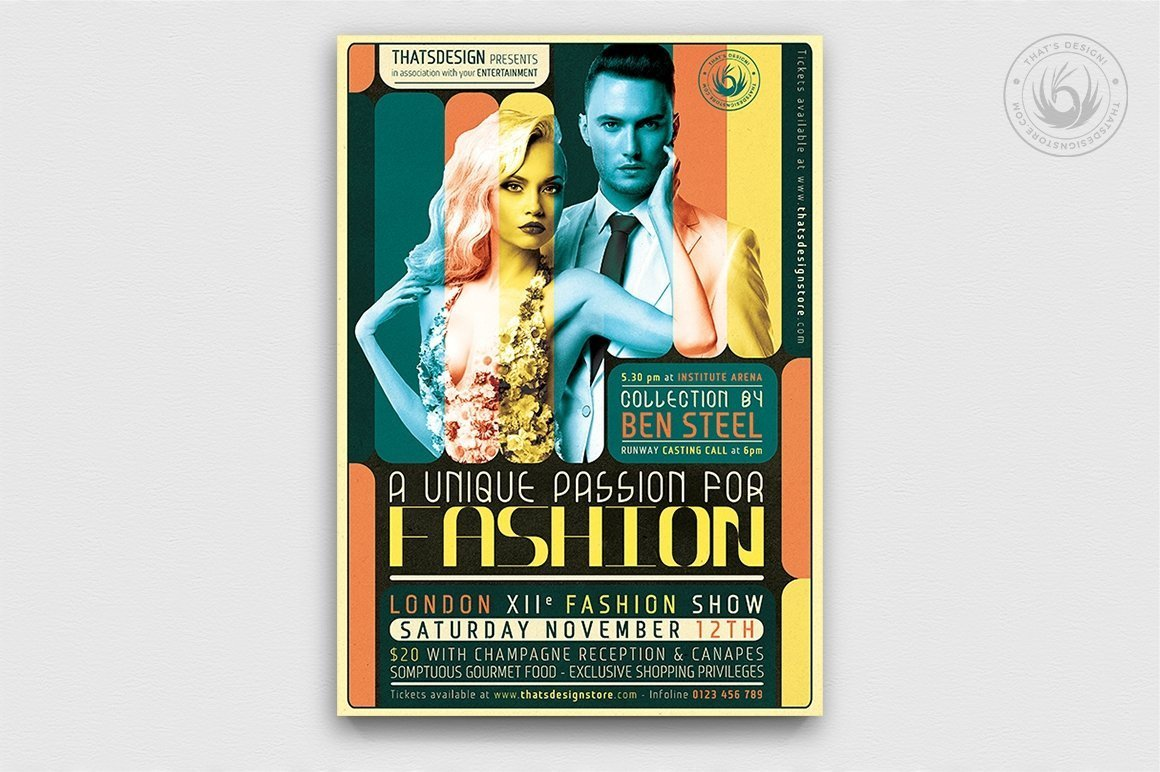 Fashion Show Flyer Template PSD download, catwalk posters