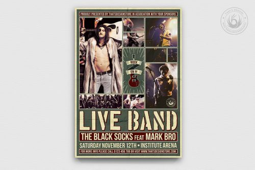 Live Concert Flyers posters Templates V6, Alternative band, Indie pop rock festival psd