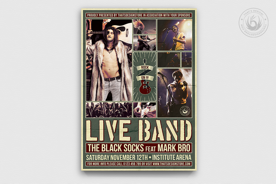 Live Concert Flyers posters Templates V6, Alternative band, Indie pop rock festival psd