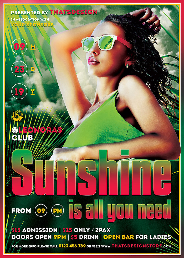 Free Summer Sunshine Flyer Psd Template, freebies for any beach party,festival, club or cocktails bar event. Pool or garden party with Dj set mixing chillout, lounge music for a tropical sunset, summer camp holidays