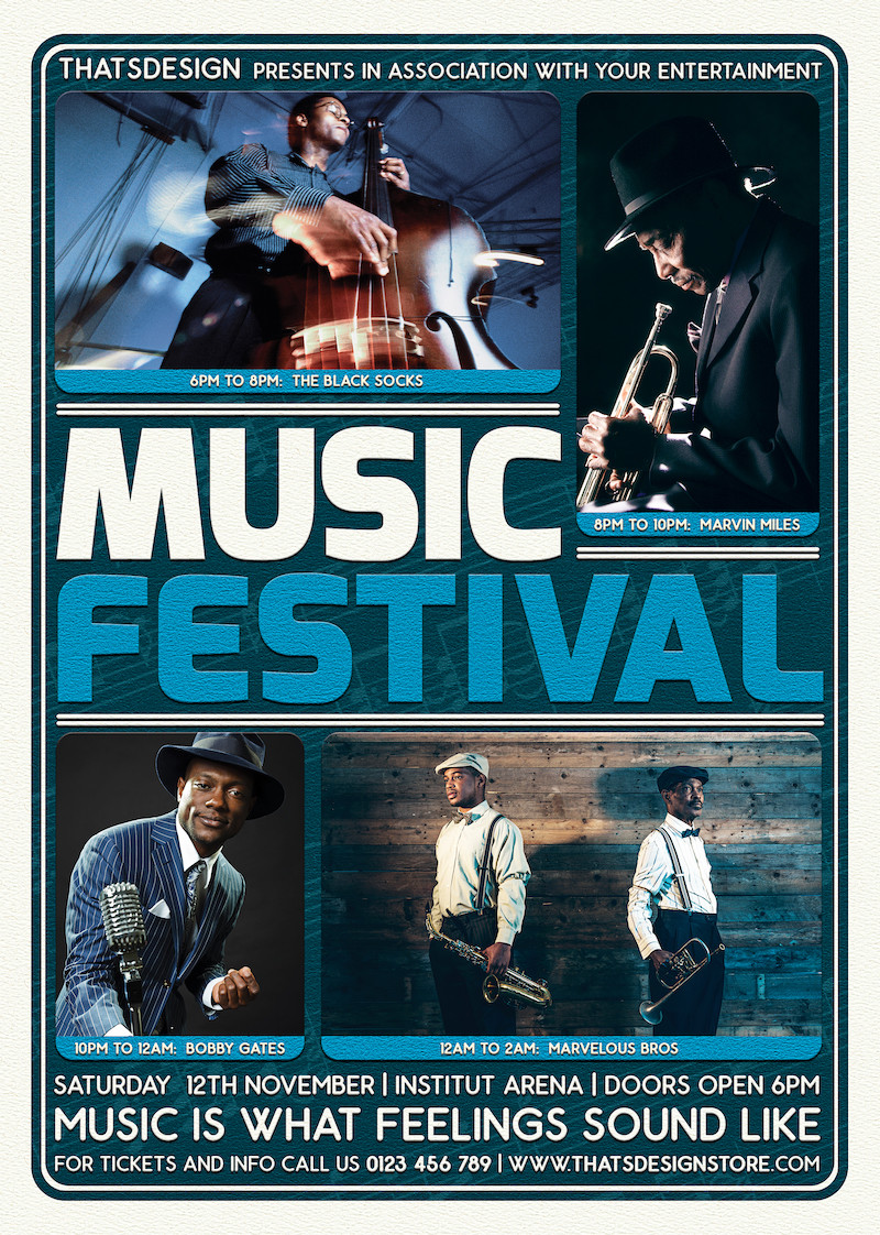 Music Festival Flyer Template PSD download, Live band concert poster