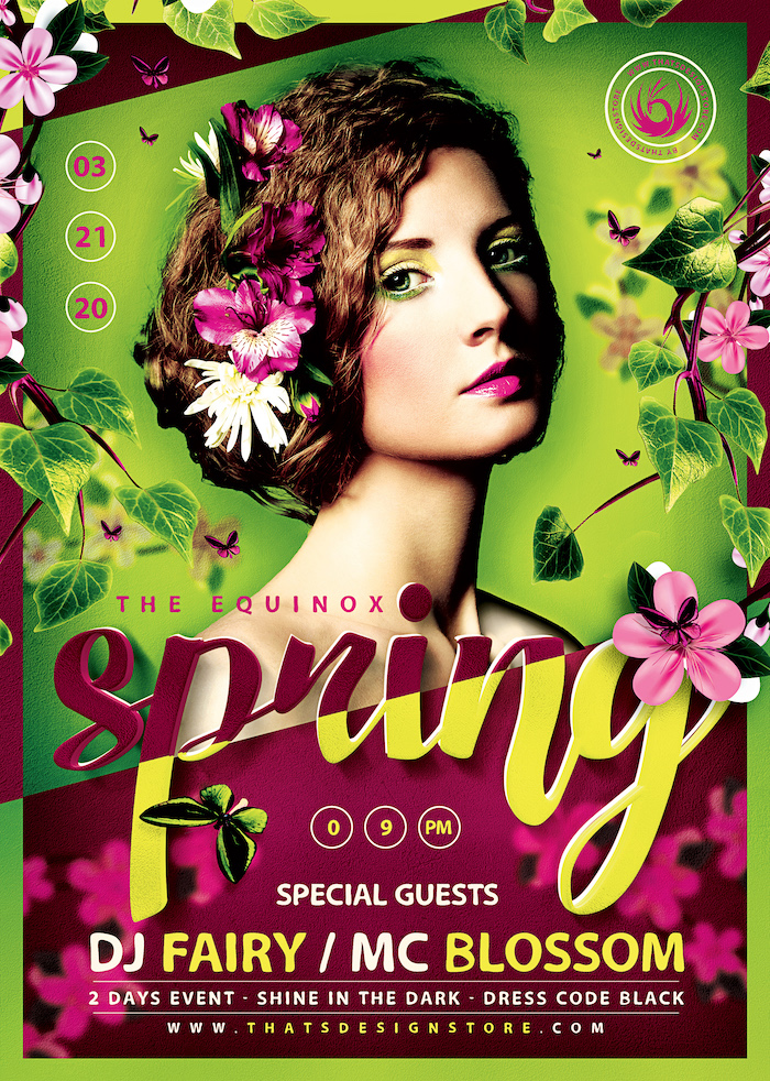 Spring Equinox Flyer Template Psd download V5, earth day, ecological, green