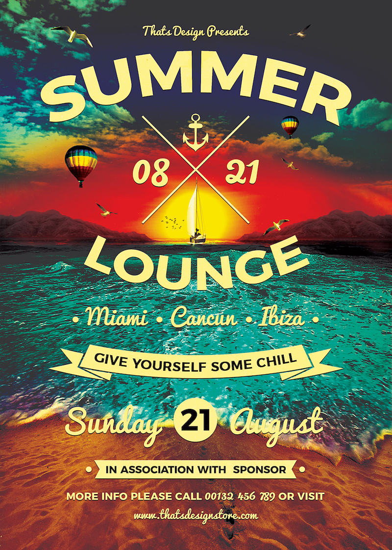 Summer Lounge Flyer Template V3 for any beach, festival, club or cocktails bar event. Pool or garden party with Dj set mixing chillout, lounge music for a tropical sunset, summer camp holidays