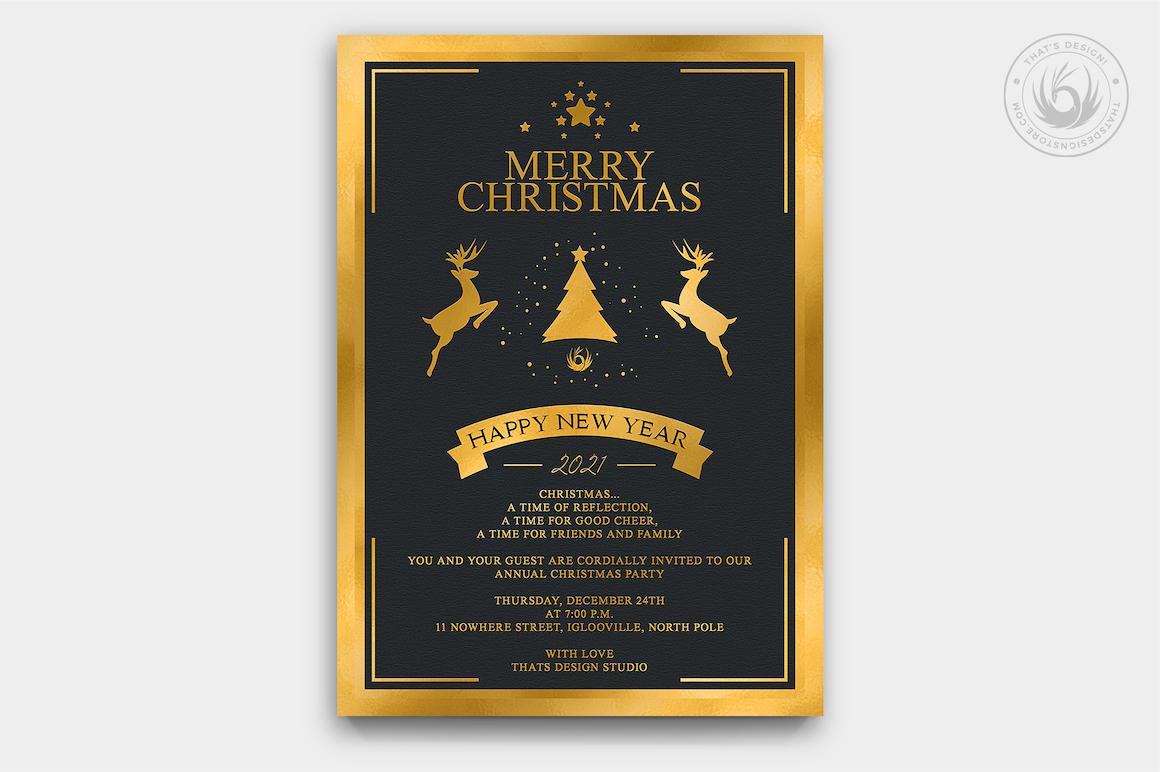 Christmas Invitation Template PSD Design editable with photoshop. Black and Gold Flyer poster