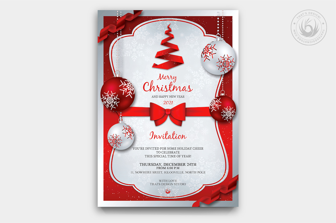 Christmas Invitation Template PSD Design editable with photoshop. Red and Silver Flyer poster