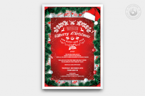 Christmas Invitation Template PSD Design editable with photoshop. Red green santa Flyer poster