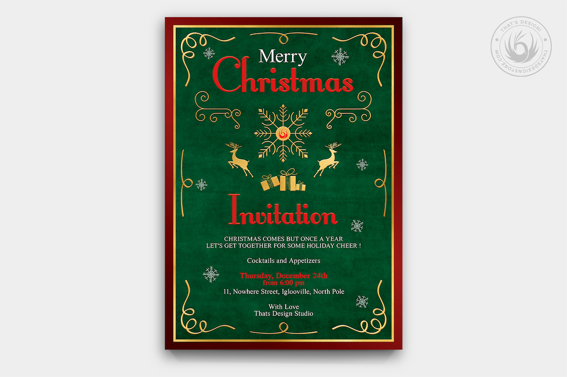 Christmas Invitation Template PSD Design editable with photoshop. Green, Red and Gold Flyer poster