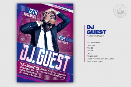 DJ guest flyer poster template psd for Clubbing or Electro Party, Dubstep, Alternative, Trance, House music event...