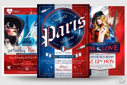French Party Flyer Template PSD design download, Eiffel tower, Burlesque party, Wine afterwork, Rock Band from Paris