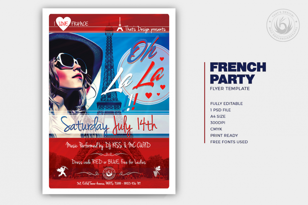 French Party Flyer Template V2, Eiffel tower, Burlesque party, Wine afterwork, Rock Band from Paris