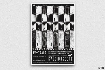 Kaleidoscope Flyer Template, Black white Themed party psd posters