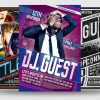DJ guest flyers posters templates psd for Clubbing or Electro Party, Dubstep, Alternative, Trance, House music event...