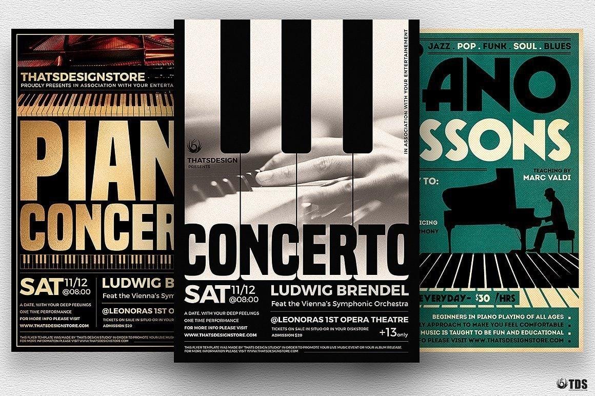 Special Pianist Flyer Template psd download Bundle