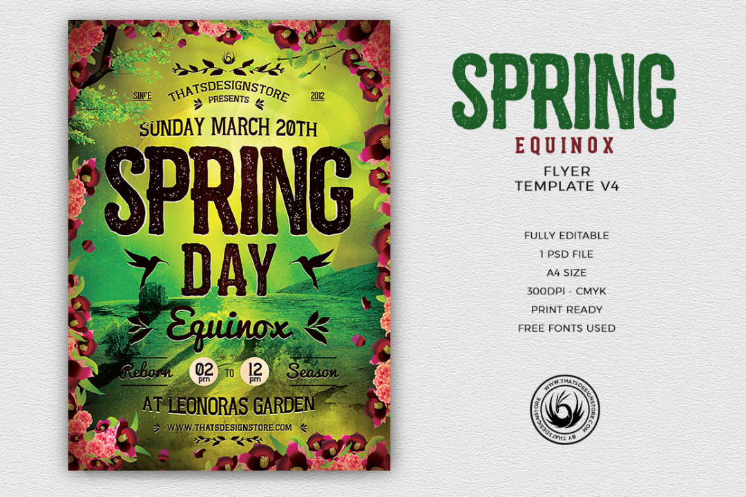 Spring Equinox Flyer Template Psd download V4, earth day, ecological, green