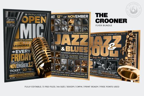3 FLYERS PSD - The Crooner Flyer Bundle