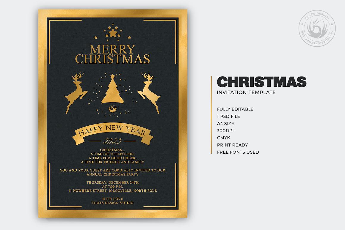 Christmas Invitation Template psd V.3