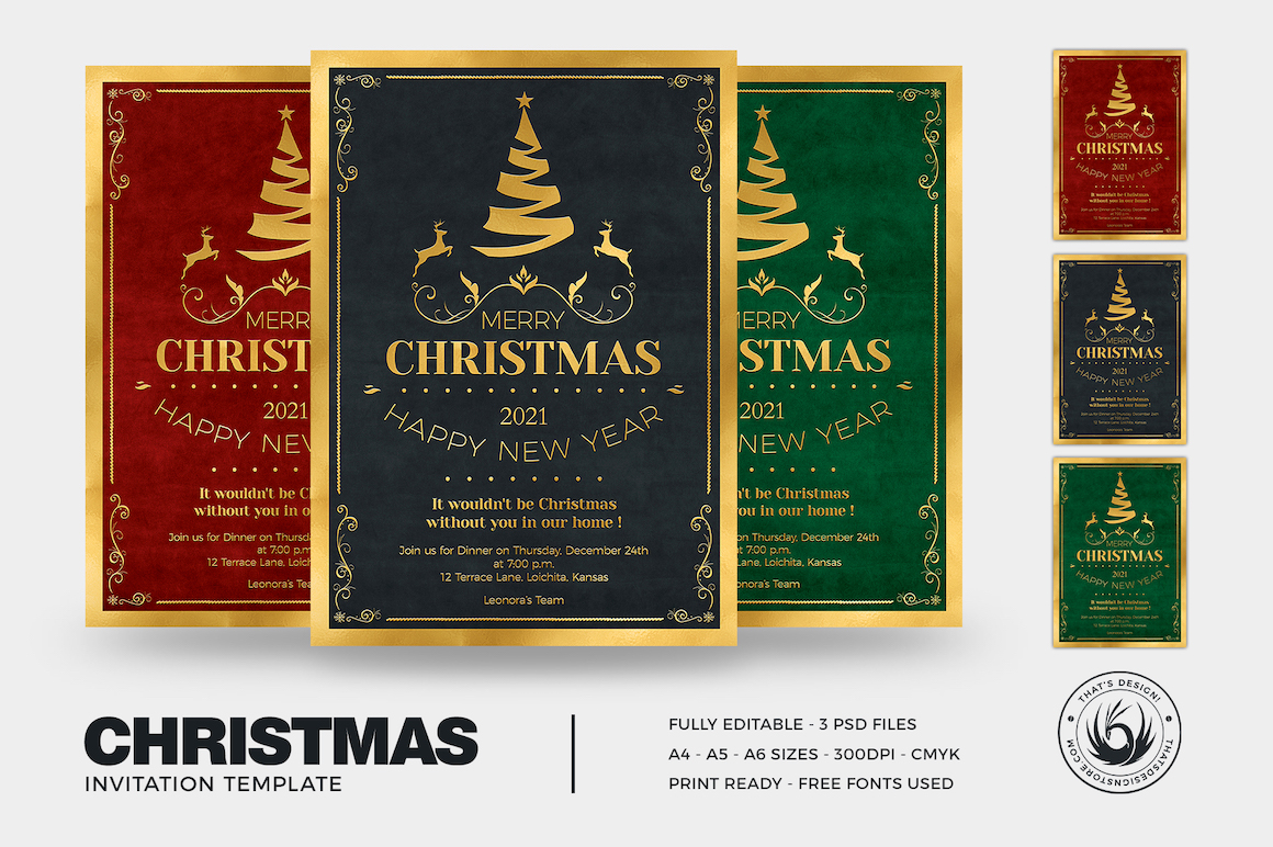 Christmas Invitation Template PSD Design editable with photoshop. Green red and black posters